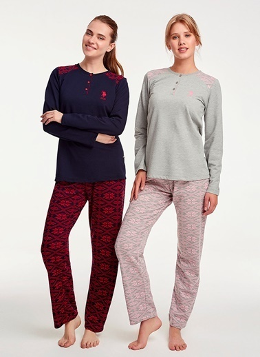 U.S.Polo Assn. Gri Melanj Patlı Pijama Takım Gri